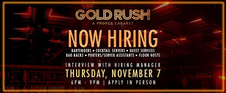 Gold Rush Miami Is Hiring Tomorrow!